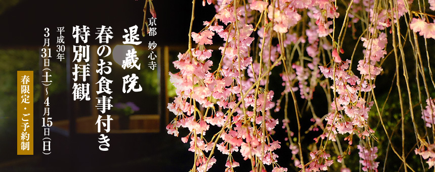 2018 Spring Special Offer at Taizo-in Zen Buddhist Temple
